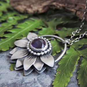 sterling silver flower pendant with purple amethyst