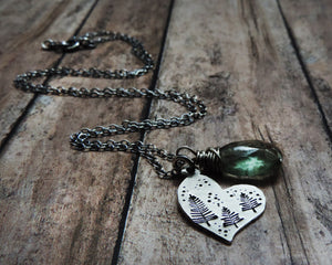 pine tree heart gemstone jewelry