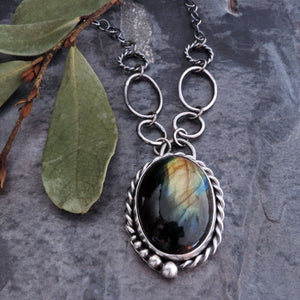 Labradorite Twist Bezel Necklace