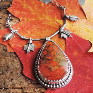 Maple Leaves Red Jasper Necklace