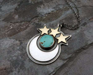 sterling silver moon and stars pendant
