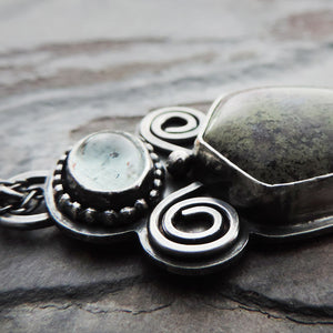 Moss Agate and Moss Aquamarine Pendant Necklace