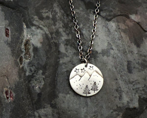 petite sterling silver mountain pendant for hikers