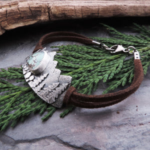 rustic silver and leather mountain bracelet