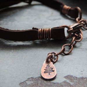 Mixed Metal Mountain Bracelet with Leather Strap