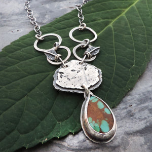 Silver Organic Botanical Pendant with Leaves and Turquoise Drop