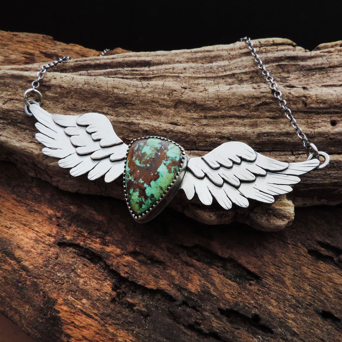 Angel Wings Necklace with Rising Phoenix Turquoise