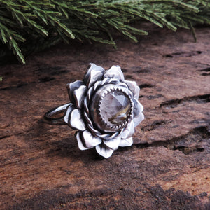 Flower Ring with Rutilated Quartz Center - Size 7.5