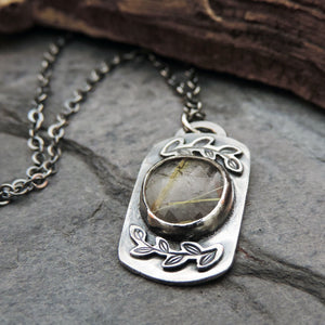 Petite Rutilated Quartz Pendant Necklace