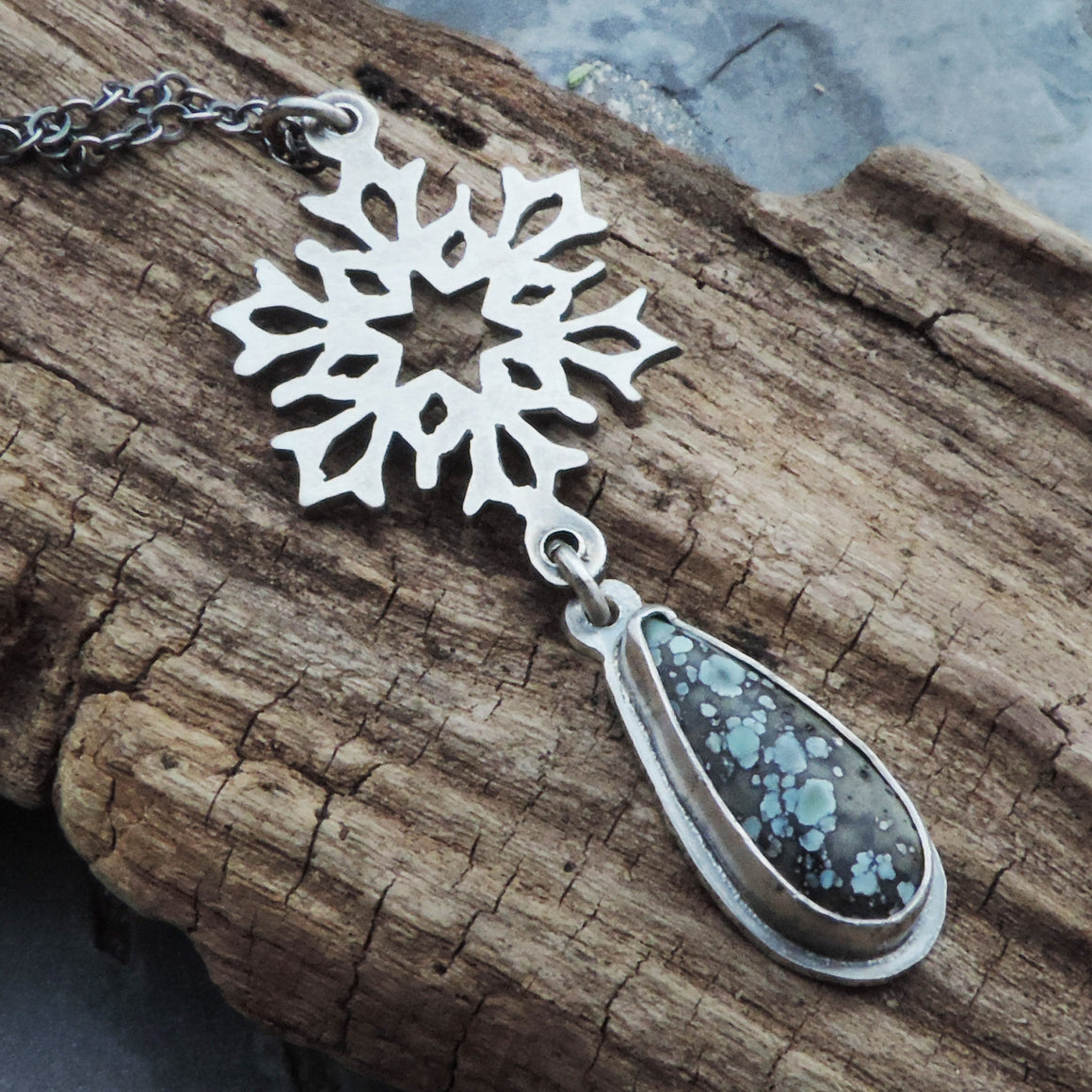Star Fox Variscite Silver Snowflake Necklace
