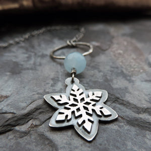 Silver Snowflake Blue Jade Necklace