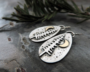 handmade pine tree and moon earrings