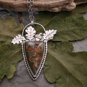 Oak Leaves Suture Ammonite Necklace