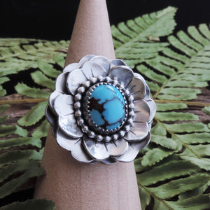 handmade flower ring with turquoise