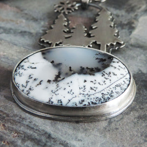 Three Pines Dendritic Opal Necklace