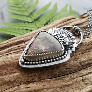 Sunflower Triangle Indonesian Moss Agate Pendant Necklace