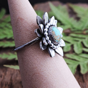 silver layered flower ring with turquoise stone