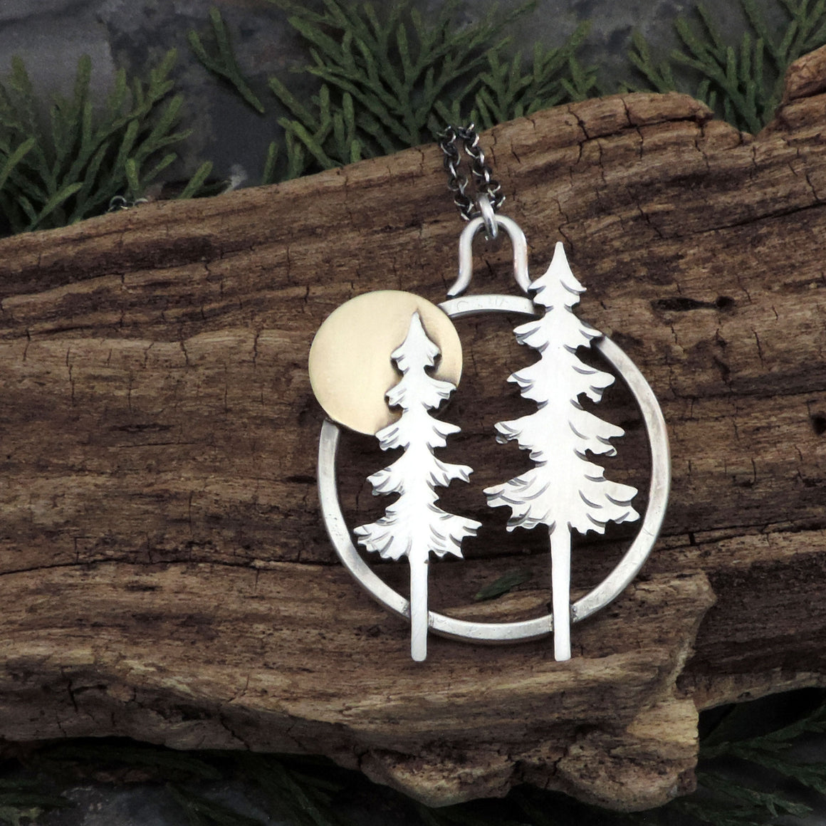 Two Majestic Pines Under a Full Moon Necklace