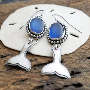 whales tail steel blue sea glass earrings