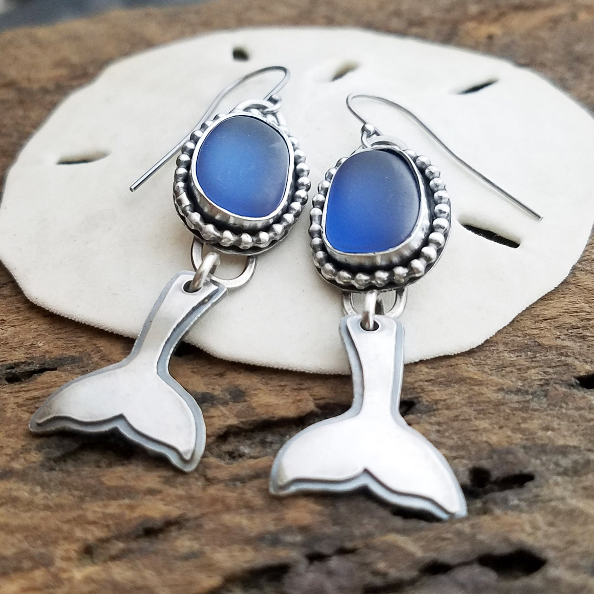 Whales Tail Steel Blue Seaglass Earrings