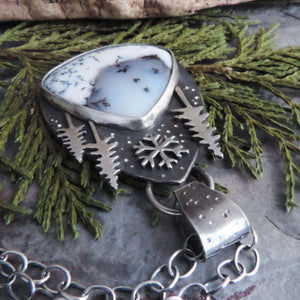 Three Pines and Snowflake Dendritic Opal Necklace