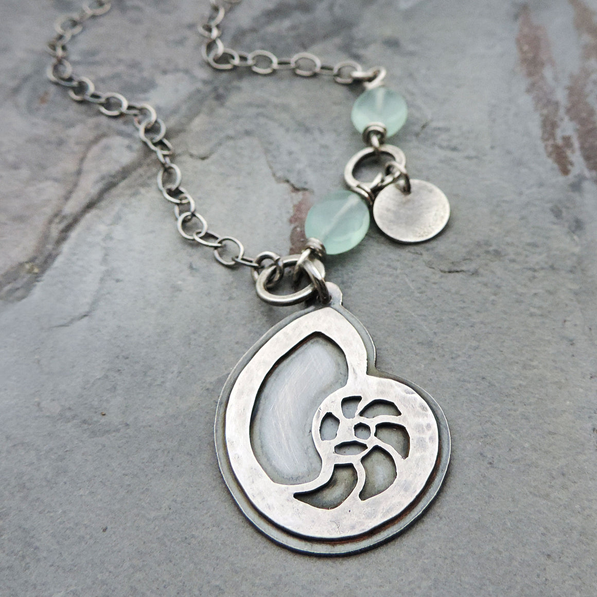sterling silver nautilus shell aqua gemstone necklace