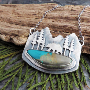 Bear in the Mountains Royston Turquoise Necklace