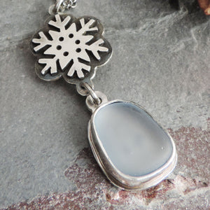 Silver Snowflake Necklace with Pale Blue Sea Glass