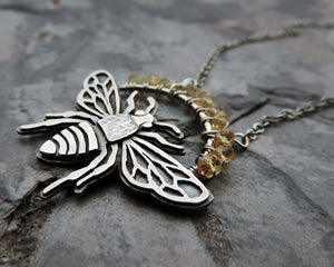 hand fabricated flying insect bumblebee jewelry