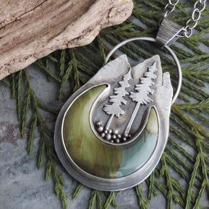 Mountain and Pine Trees Necklace with Caldera Jasper Moon