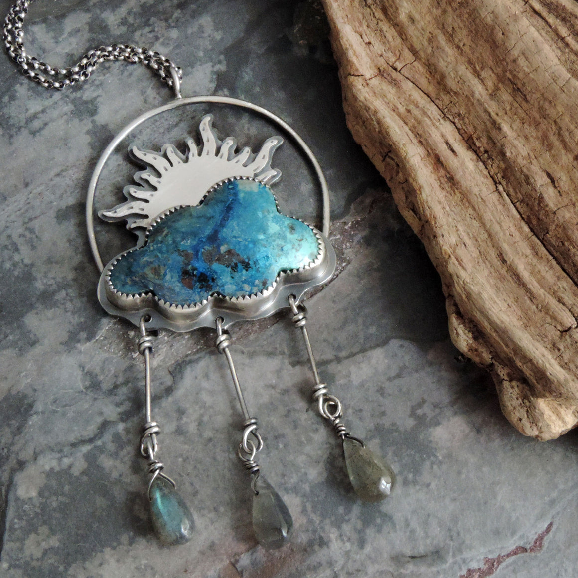 Sun, Cloud and Raindrops Shattuckite Necklace