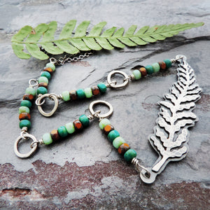 czech beaded choker necklace with fern frond