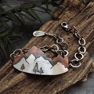 mixed metal mountain range bracelet with chain links