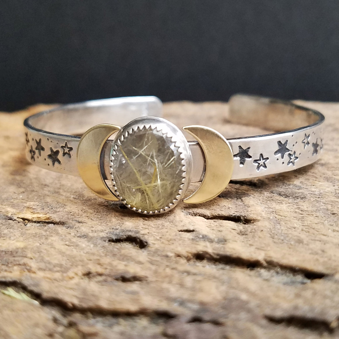 Golden Rutile Quartz Moon and Stars Cuff Bracelet