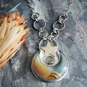 Landscape Jasper Moon and Star Necklace