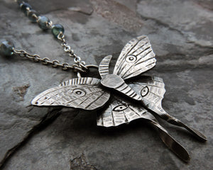 flying insect luna moth necklace