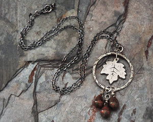 fall autumn maple leaf necklace