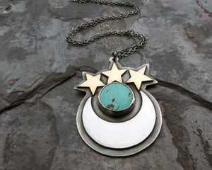celestial crescent moon stars and turquoise necklace