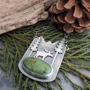 mountain forest and moose turquoise necklace