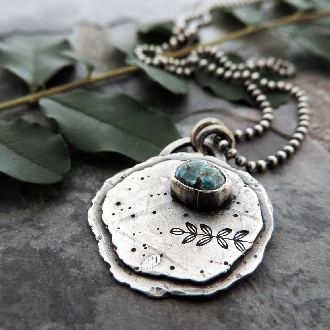Silver Organic Botanical Imprint Pendant with Turquoise Stone