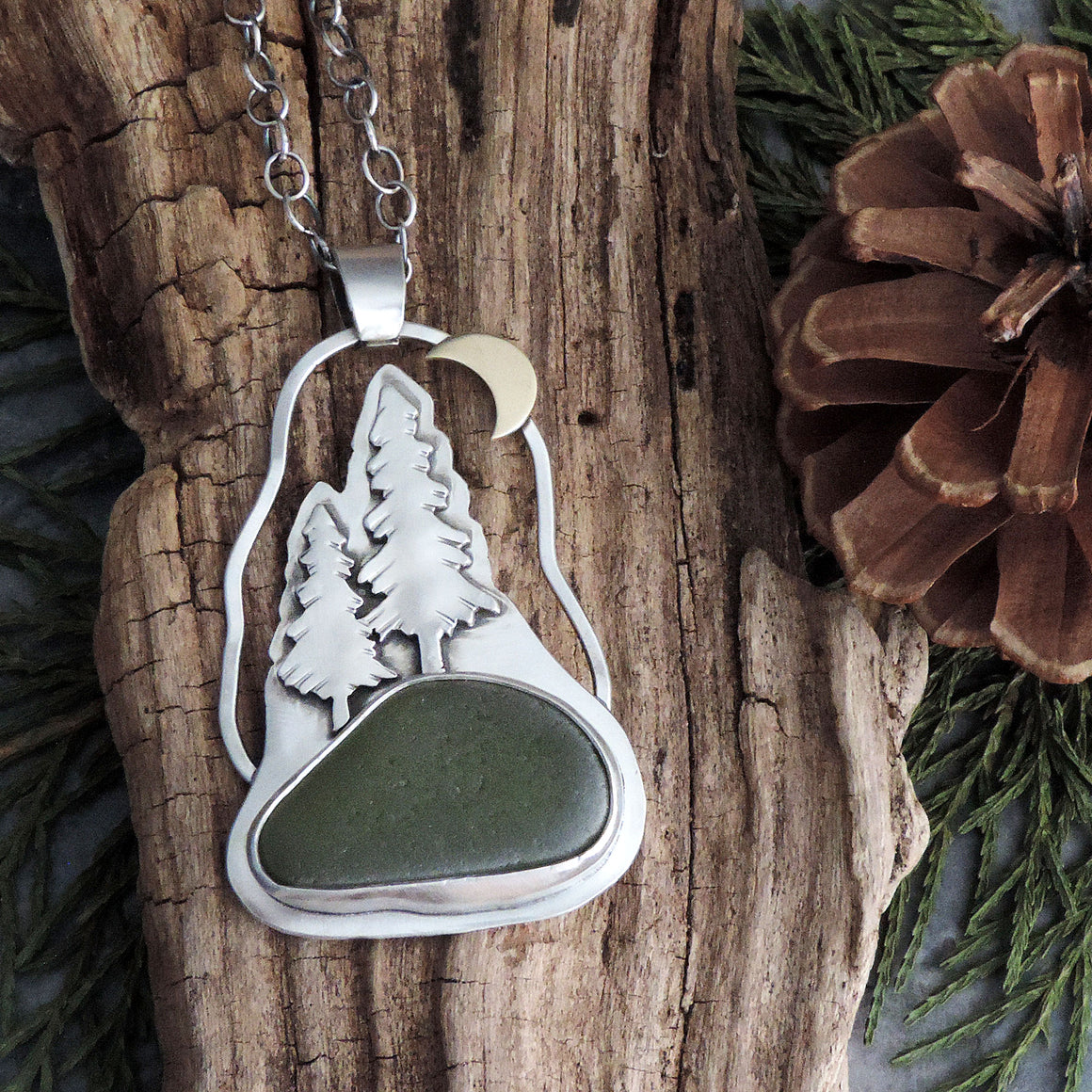 Pine Tree Necklace with Crescent Moon and Green Sea Glass