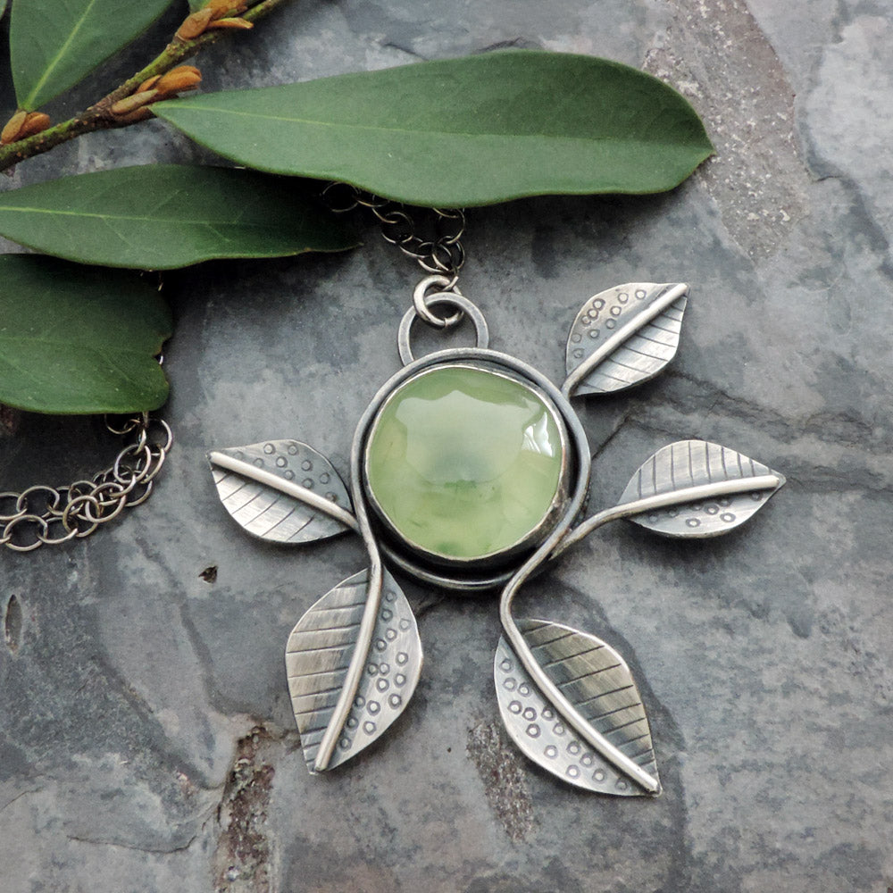 sterling silver abstract botanical leaf pendant