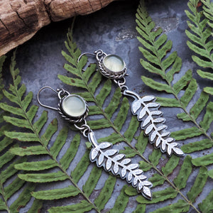 Fern Earrings with Green Prehnite Stone