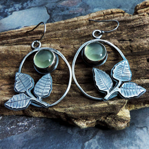 Green Prehnite Earrings with Three Leaves