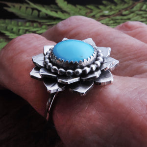 turquoise flower silver ring