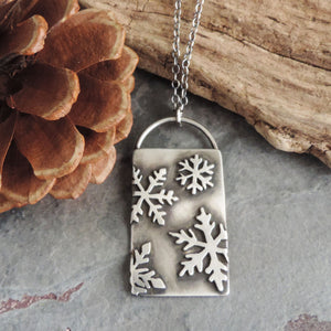 Sterling Silver Rectangle Snowflake Necklace
