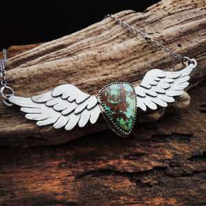handmade angel wings with turquoise necklace