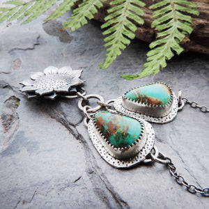 Sunflower Pendant with Tyrone Turquoise Chain Accents