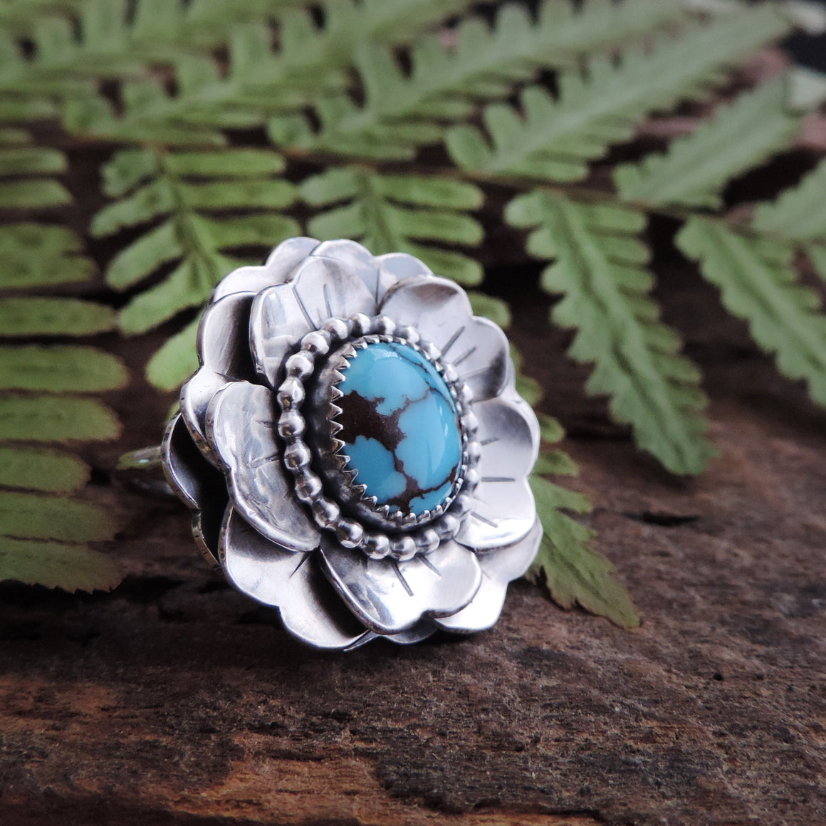 artisan turquoise sterling silver layered flower ring