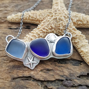 Triple Sea Glass Seashell Necklace